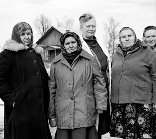 Five women in Gnenj - a village in the officially evacuated 30 km zone.